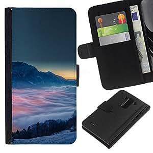 YiPhone /// Tirón de la caja Cartera de cuero con ranuras para tarjetas - Montañas Nubladas - LG G3