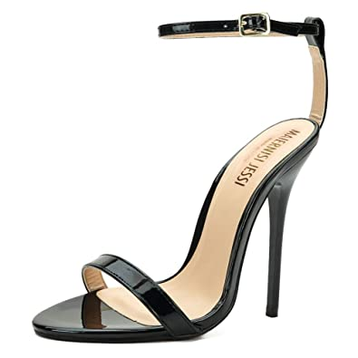 af3441ffc61 MAIERNISI JESSI Unisex Men s Women s Ankle Strap Stiletto High Heel Dress  Sandals Patent Black EU37 -