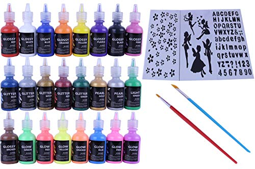 Fabric Paint Set with Brushes & Stencils: Craft Puffy Paint for Decorating Shirts, Denim, Upholstery, Textile or Glass - 3D Puff Paint Kit with Glitter and Glow in The Dark ()