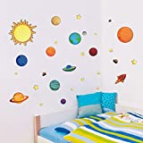 Colorful Planets In The Space Solar System With Star Wall Stickers  Removable Wall Decal For Girls