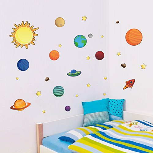 Colorful Planets in The Space Solar System with Star Wall Stickers Removable Wall Decal for Girls and Boys Nursery Baby Room Children's Bedroom