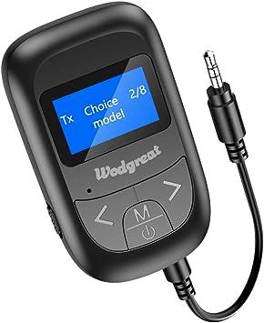 Wodgreat Receptor Bluetooth Adaptador Bluetooth 5.0 Transmisor Receptor Bluetooth para PC TV Coche, Emisor Bluetooth Audio 3.5mm AUX Pantalla LED aptX Baja Latencia, Música Inalámbrico en Coche: Amazon.es: Electrónica