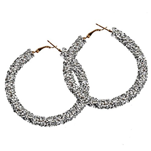 Hoop Earrings, Women 1 Pair Fashion Big Circular Shiny Sequins Charming Earrings Jewelry 5 Colors (White) ()