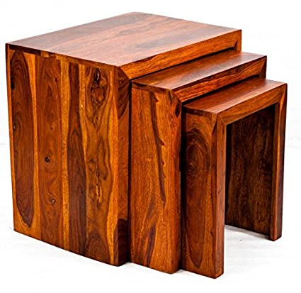 Daintree Satin Solid Wood Nesting Tables Set Of 3 Teak Finish