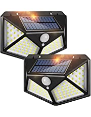 LED Solar Lights Outdoor,100 LED Motion Sensor Solar Security Lights, Outdoor Waterproof Solar Wall Light for Gate,Yard,Garage (2 Packs)