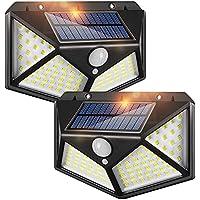 LED Solar Lights Outdoor,100 LED Motion Sensor Solar Security Lights, Outdoor Waterproof Solar Wall Light for Gate,Yard…
