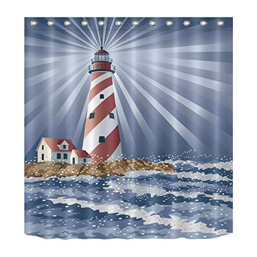 - youyoutang Candy Cane Lighthouse Shower Curtain Waterproof Fabric &12 Shower Hooks 180X180CM Home Decoration Bathroom Accessories