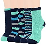 Zando Womens Fuzzy Socks Bulk Warm Thick Microfiber Fluffy Socks Home Fuzzy Slipper Socks Cozy Thick Fluffy Stockings for Home Sleeping Indoor Winter Plush Slipper Socks 5 Pairs Blue&Black Series One size