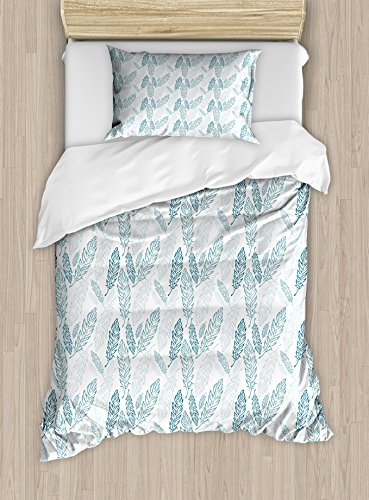 Ambesonne Teal and White Duvet Cover Set Twin Size, Pastel Colored Grunge Looking Feathers Flying Bohemian Ethnic, Decorative 2 Piece Bedding Set with 1 Pillow Sham, Teal Dark Blue White (Bedding Teal Sets Colored)