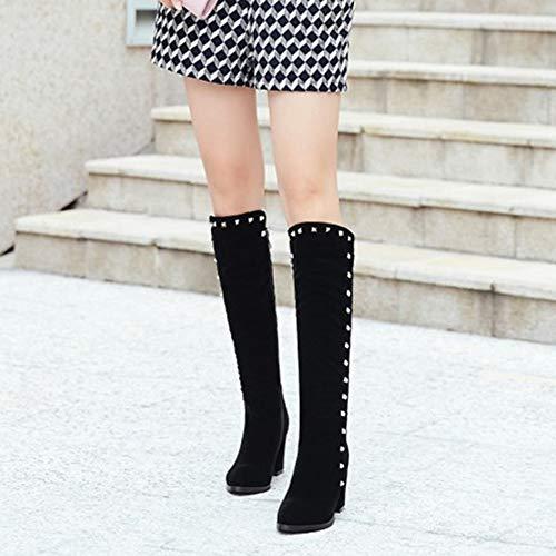 Dekoration Einkaufen Schuhe Ritter Starke Mädchen Stiefel YR Nieten Heel Stiefel Für Stiefel Stiefel Seitliche Heel Herbst Dating R Damen Damen High Reißverschluss x0Hw1O4q