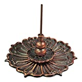 Buytra Lotus Incense Burner Holder for Sticks Cones Coils Incense, Vintage Style, Copper Color