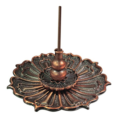 (Buytra Lotus Incense Burner Holder for Sticks Cones Coils Incense, Vintage Style, Copper Color)