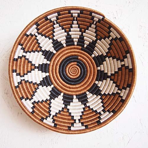 (African Basket- Bungoma/Rwanda Basket/Woven Bowl/Sisal & Sweetgrass Basket/Burnt Sienna, Black, White)