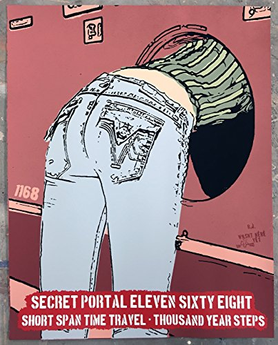 """16"""" x 20"""" - Time Machine - Limited Edition Hand Silk Screened Art Painting Sci-Fi Women Jeans by Rob Johnston Artist"""