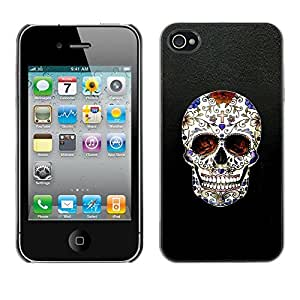 All Phone Most Case / Hard PC Metal piece Shell Slim Cover Protective Case Carcasa Funda Caso de protección para Apple Iphone 4 / 4S Skull Cross Christian Death Bling Biker
