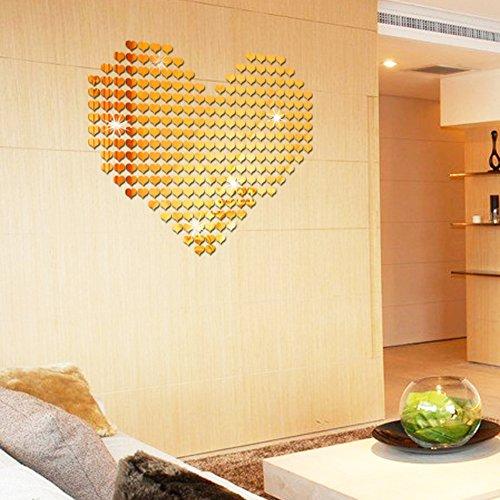 dezirZJjx 3D Wall Stickers,Wall Decals Stickers,100Pcs 3D Love Mirror Effect Heart Shaped Wall Sticker Decal Home Decor Art DIY - Golden