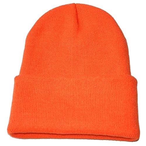 Orange Skull Cap (Kuyou neutral winter Fluorescent knitted hat knitting skull cap (Orange))