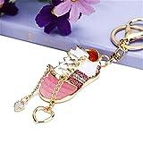 HANBINGPO Crystal Mini Shoes Car Key Chain Female Bag Pendant Key Chain Couple Charm Pink