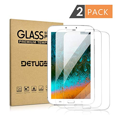 [2 Pack] Samsung Tab 3 8.0 Screen Protector-DETUOSI Anti Explosion Scratch Resist Bubble Free Tempered Glass Screen Protector for Samsung Galaxy Tab3 8 T310
