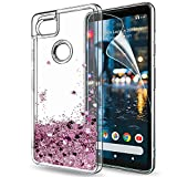 Google Pixel 2 XL Case,Pixel 2 XL Glitter Case with HD Screen Protector,LeYi Moving Quicksand Liquid Girl Women Cute Clear TPU Hybrid Shockproof Drop Protector Phone Case for Pixel 2 XL ZX Rose Gold