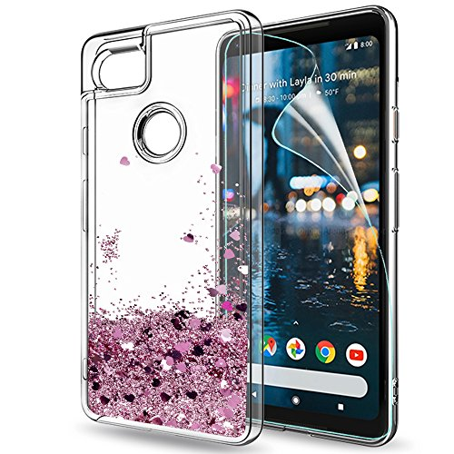 Price comparison product image Google Pixel 2 XL Case,Pixel 2 XL Glitter Case with HD Screen Protector,LeYi Moving Quicksand Liquid Girl Women Cute Clear TPU Hybrid Shockproof Drop Protector Phone Case for Pixel 2 XL ZX Rose Gold
