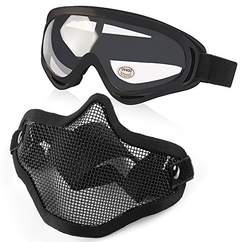 Vanmor Airsoft Mask Half Face Mesh Mask with UV400 Goggles f