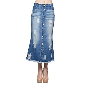 Button Down Washed Raw Edge Denim Long Skirt (Medium)
