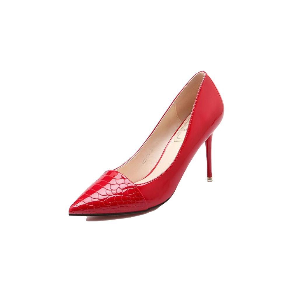 rouge-37 HIGHXE 9cm PU Talons Hauts, Chaussures Peu Profondes Serpentine Saisons, Mode élégante et Confortable