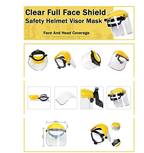 Safety Works Adjustable Headgear Face shield with Visor Mask Clear Face and Head Coverage Polycarbonate Used for - Light Construction, General Manufacturing, Cutting Metal, Cutting Wood (TL-1021) by JEWELS FASHION (Image #4)