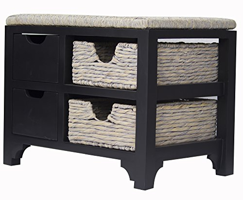 Heather Ann Creations Vale Collection Bohemian Storage Bench With Two Drawers and Two Baskets, Wicker Finish, Black/Wicker