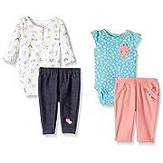 Carter's Baby Girls' 4-Piece Bodysuit and Pant Set, Mint Kitty/White Denim, Newborn