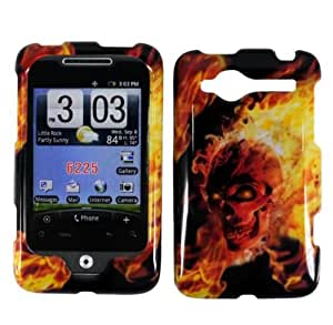Black Fire Skull Hard Cover Case for HTC Wildfire