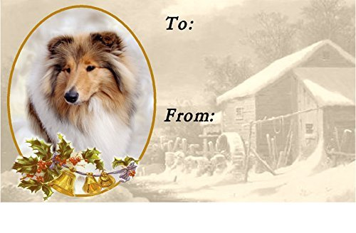 Rough Collie (Sable) Dog Christmas Labels (42) - Self Adhesive by Starprint