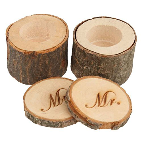 CHUANGLI 2pcs Wedding Ring Box Rustic Wooden Wedding Ring Case Weddings Accessories Mr Mrs Jewelry Boxes by CHUANGLI (Image #5)