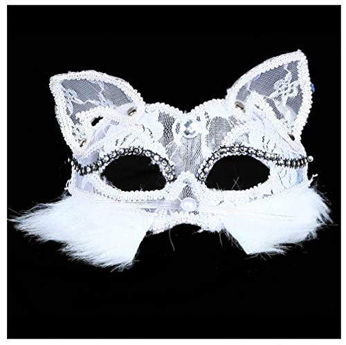 (Womens Mask New Lace Plastic Mask Lace Animal Mask Fox Fur Mask Halloween Venetian Masquerade Party Prom Fancy Dress Ball Fur)