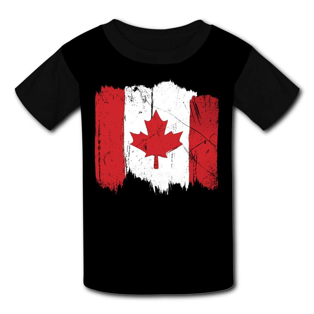 Black Raglan T-Shirts Short Sleeve Canadian Maple Leaf Sports Sweat Tee for Kids Boys Girls