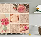 Pink and Green Shower Curtain Ambesonne Shabby Chic Shower Curtain, Collage Photos Lace Roses Flower Leaves Old Art Print, Fabric Bathroom Decor Set with Hooks, 70 inches, Light Pink Forest Green and White