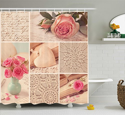 (Ambesonne Shabby Chic Shower Curtain, Collage Photos Lace Roses Flower Leaves Old Art Print, Fabric Bathroom Decor Set with Hooks, 70 Inches, Light Pink Forest Green and)