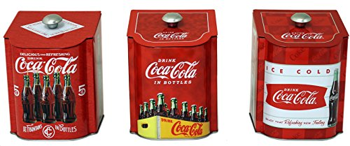 Tin Box 28875 Set of 3 Vintage Style Coca Cola Logo Tin Containers Sloped Lids, 5.5