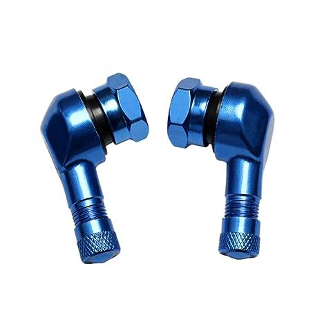 Tallos Rueda de Neumático Válvula Hidráulica Tapones de Tuerca Coche Aluminio 90 Grados - Azul