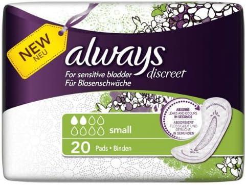 Case of 6 Always Discreet Sensitive Bladder Small Pads 20 per pack