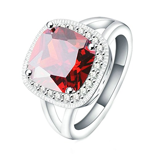 Daesar Gold Plated Womens Engagement Rings Silver Ruby Birthstone Rings 4 Prongs CZ Ring for Women US:8
