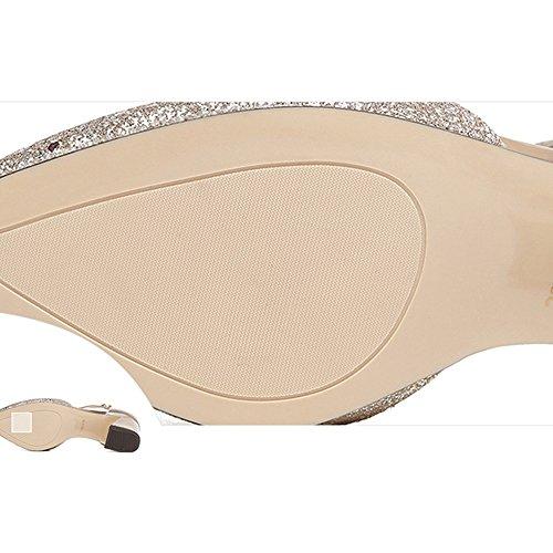 Material mit Wasserdichte Mode Hochhackiges Flacher 1 Silber Hoch PU Sommer CM Tabelle Sandalen Damenschuhe 4 Gold Feifei CM Mund Gold Optional 7qxaI