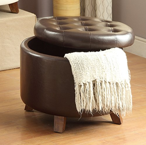 Brown Leather Cocktail - Major-Q Pxf7061 Tufted Brown Finish Faux Leather Storage Cocktail Ottoman