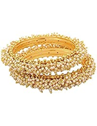 The Jewelbox Cluster Pearl Antique 22K Gold Plated Bangle Set Of 2 (Pair) For Women