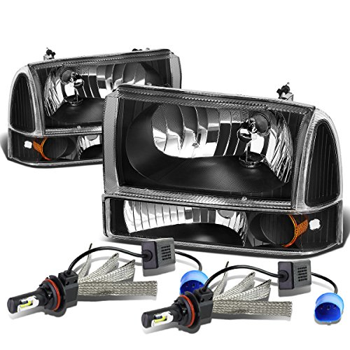 For Ford Super Duty/Excusion 4Pc Black Housing Amber Corner Headlight + Bumper Lamp + 9007 LED Conversion Kit
