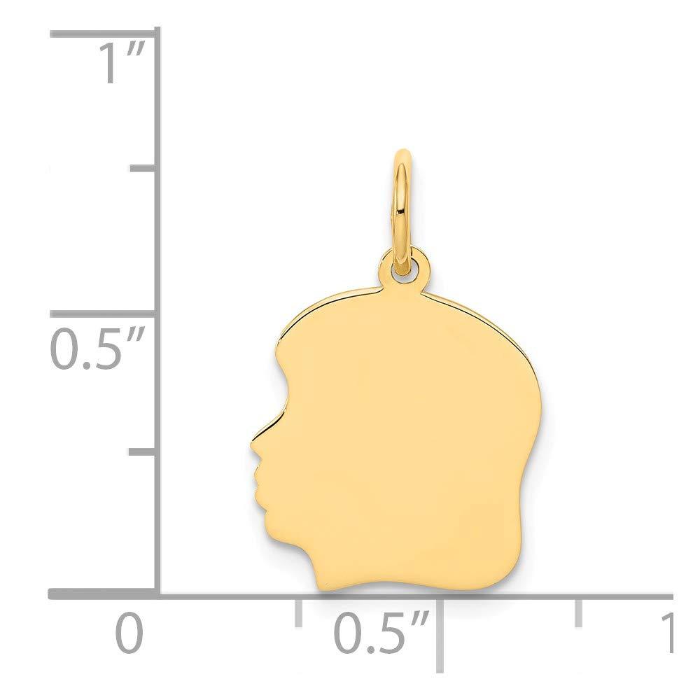 21mm x 4mm Solid 14k Yellow Gold Plain Medium .018 Gauge Facing Left Engravable Girl Head Charm Pendant