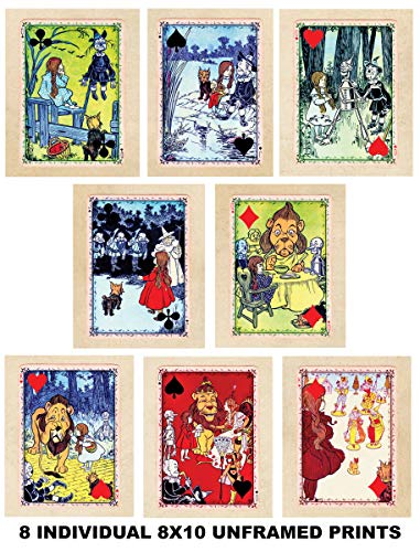 (8 Individual Wizard of Oz Beautifully Restored Playing Card Art Prints - 8x10 Unframed Photo Prints - Fun Gift - 8 Prints - Mix and Match. Great for a Child's Room, Nursery- Intro Pricing)