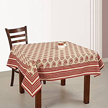 ShalinIndia Indian Table Décoration 54 Inches Square Tablecloth 4 Seater  Cotton Floral Print