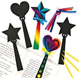 Magic Wand Scratch Art Bookmarks Hearts Stars Children's Craft Activities (Pack of 12)